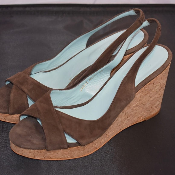 139ffd2df372 Boden Shoes | Chocolate Brown Suede Cork Wedge 839 | Poshmark